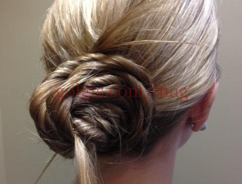 آموزش شینیون ساده به شکل گل رز برای موهای بلند